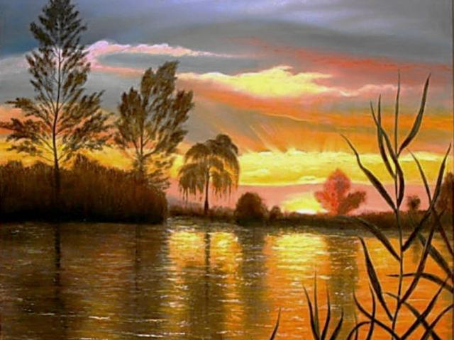 Napfény játék a tó fölött, 90x80cm, Tar Ildikó olajfestmény 2002