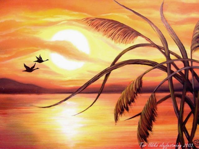 Tar Ildikó olajfestmény 2003. Nyári naplemente 60×40 cm