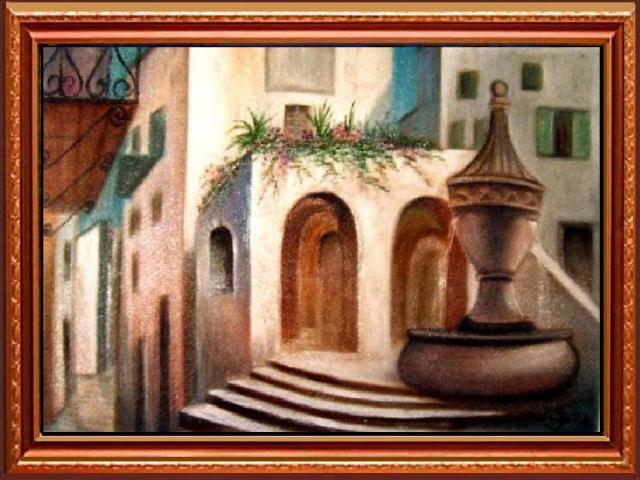 Tar Ildikó olajfestmény 2003.Mediterrán utcarészlet, 70x50cm
