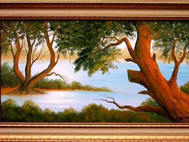 Tar Ildikó olajfestmény 2003. Vízpart, benyúló fákkal, 70x40cm