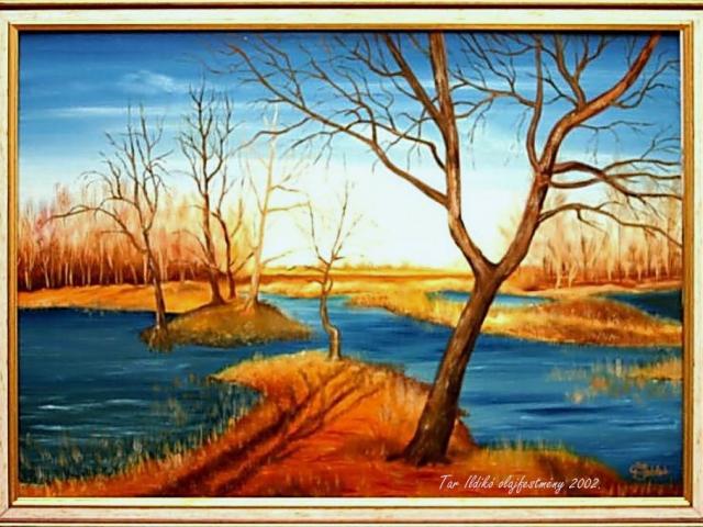 Tar Ildikó olajfestmény 2002 Árnyék a tóparton, 50×70 cm