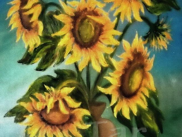 Tar Ildikó olajfestmény 2003. Napraforgók festőkéssel, 80×60 cm