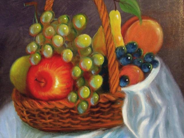 Tar Ildikó olajfestmény 2003. Egy kosár gyümölcs, 50×40 cm