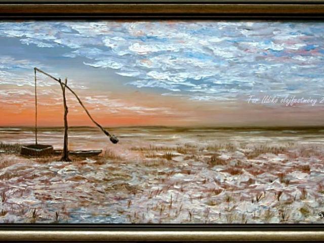 Tar Ildikó olajfestmény 2002 Téli puszta, 40x70 cm
