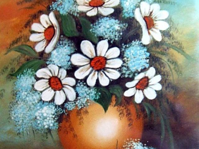 Tar Ildikó olajfestmény 2003. Margaréták kék rezgővel, 50×40 cm