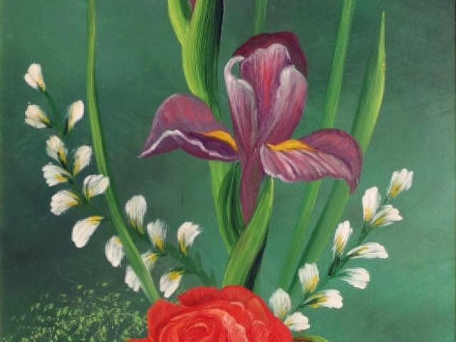 Tar Ildikó olajfestmény 2003.  Lila íriszek rózsával, 50x30cm
