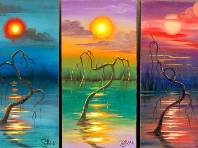 Tar Ildikó festmény sorozat 2003. Ártéri hangulatok