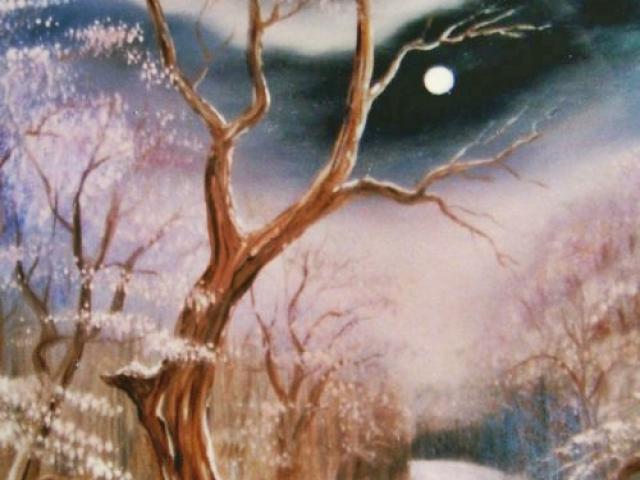 Erdei út téli fényben 50×30 cm, Tar Ildikó olajfestmény 2002.