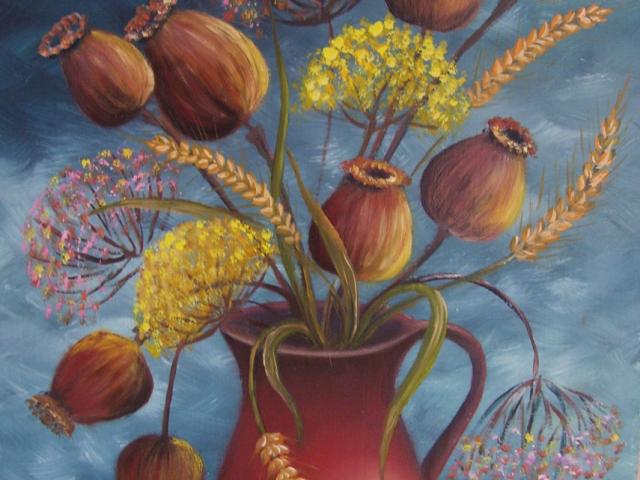Tar Ildikó olajfestmény 2002 , Mákgubók vázában