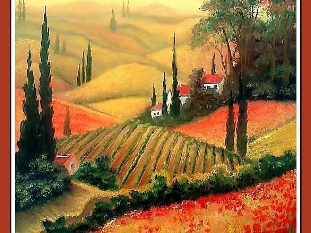 Tar Ildikó olajfestmény 2009. Pipacsos Toscana 40x30 cm