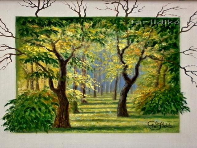 Tar Ildikó olajfestmény 2009. Kitekintő erdő