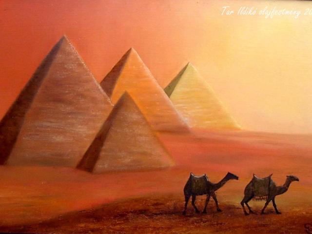 Tar Ildikó olajfestmény 2008. Piramisok