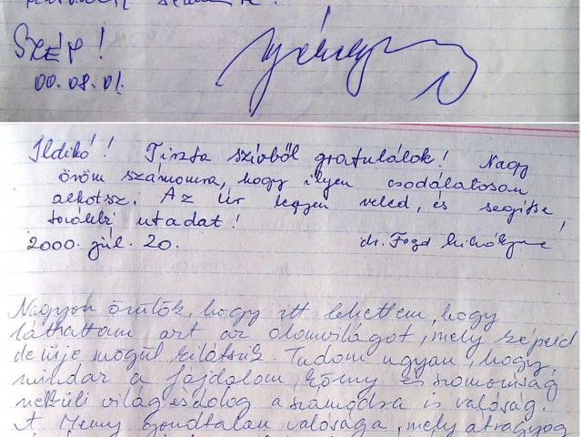 Tar Ildikó első önálló kiállításának vendégkönyvébe írták